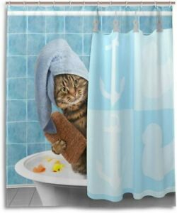 Kitten Shower Curtain Baby Cats Flowers Colors Print for Bathroom