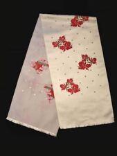 Rare Denise Francelle Vintage Scarf 1960S White Silk Damask Red Irises Lovely!