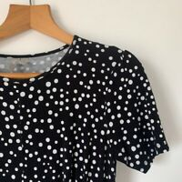 Womens ASOS Tea Dress Polka Dot Size 12 Black White Casual Everyday Dress