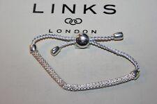 GENUINE LINKS OF LONDON 925 SILVER EFFERVESCENCE XS PEWTER & WHITE CORD BRACELET
