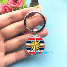 Compass Art Photo Tibet Silver Keychains Rings Glass Cabochon Key chain -88