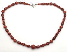 Red Coral Glass & Wood Beaded Necklace with Silver Toggle Closure, 27""