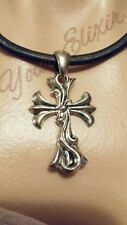 CROSS GENUINE BLACK LEATHER MAGNETIC SILVER TONE PENDANT NECKLACE NEW