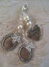 Vintage Inspired Ivory & Crystal Double Butterfly Photo Charm Wedding/Bridal