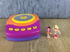 Polly Pocket DJ Disco Party CD Player Case Figures Vintage Collectors WORKING