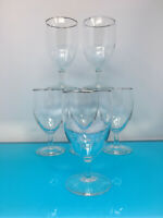 Set of 5 vintage silver rimmed water wine tea glasses