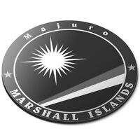 Round Mouse Mat (bw) - Marshall Islands Majuro Flag Stamp  #40100