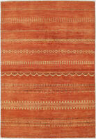 4X6 Hand-Knotted Gabbeh Carpet Modern Red Fine Wool Area Rug D42655