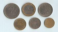 France Set of 6 Coins - 5,10 Centimes,1/2,1 Franc,2,10 Francs 1963-1989
