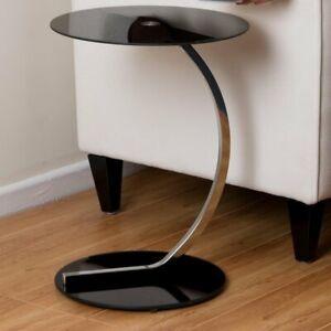 ASPECT Merlin Black Glass Round Table, 54cm H x 40cm W
