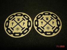2 AUTHENTIC SMALL ROUND WETHEPEOPLE BMX BLACK STICKERS #64 DECALS AUFKLEBER