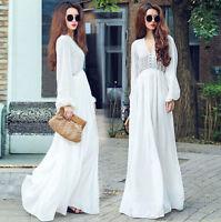 LONG SUN DRESS Mexico PEASANT BOHO NEW MAXI WHITE Chiffon Lace FULL HIPPIE GYPSY
