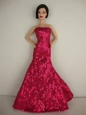 Spectacular Hot Pink Sequined Mermaid Gown Made to Fit Barbie Doll