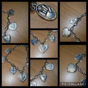 "925 Sterling Silver Vintage Heart Charm Love Bracelet (7"" in length)!"