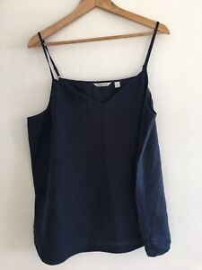 Country Road Navy Blue 100% Linen Top XL