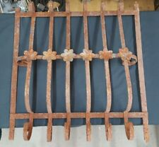 Architectural Salvage Wrought Iron Window Grate with Large Scrolls & Flowers