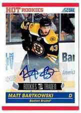 2011-12 SCORE HOT ROOKIES MATT BARTKOWSKI AUTO BOSTON BRUINS #654