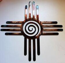 "Southwestern Zia  with Swirl Metal Wall Art Decor 24 """