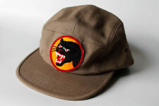 Vintage 90s OBEY 5 Panel Black Panthers Army Green Camp Cap O/S Shepard Fairey