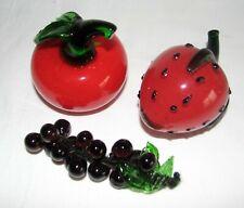 3 pc Glass STRAWBERRY CHERRY BERRIES Fruit Piece Paper Weight Italy Murano style
