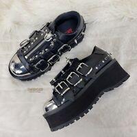 Grave Digger 03 Black Chrome Toe Plate Spiked Shoe Men 4-13 Goth Punk NY
