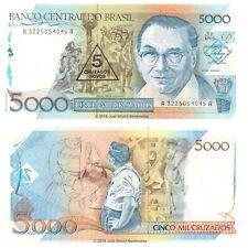 Brazil 5 Cruzados on 5000 Cruzados 1989 P-217a Banknotes UNC