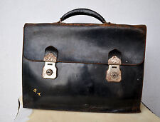 Rare Vintage Black Cowhide Leather Briefcase Laptop Man-Bag Unisex Old School!