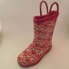 SHASHERS Girls White Pink Black Rain Boots sz 12 Kids Toddler Steel Shank Boots