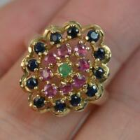 Large Emerald Ruby and Sapphire 9ct Yellow Gold Cluster Ring d0347