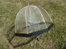 Vintage Transparent Bubble Umbrella Clear Vinyl w/ Black Trim ~ Plastic Handle