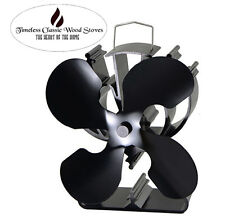 VICTORY 4 Blades Heat powered wood Heater stove Eco Fan Ecofan- High CFM- Black
