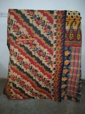 Cotton Bedspread Handmade Throw Kantha Quilt Reversible Indian Vintage Gudari