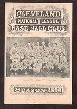 1898 CLEVELAND BASEBALL CLUB TEAM PLAYERS NATIONAL LEAGUE POSTCARD COPY