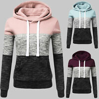 Women Patchwork Hooded Long Sleeve Sweatshirt Hoodie Pullover Jumper Sweater Top