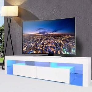 Modern TV Unit Cabinet Stand Doors LED White Furniture Living Room