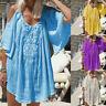 Damen Kurzarm Kleid Strand T-Shirt Kalte Schulter Top Longshirt Minikleid FL