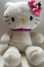 """Build A Bear 17"""" White Hello Kitty - Pink Heart Bow & Bead Necklace! - AC"""