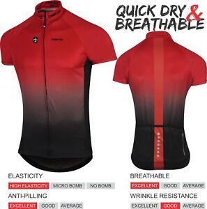 DEKO Mens Cycling Jersey Half Sleeve Bike/Bicycle top jersey Short Sleeves Red