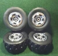"Radio shack 4x4 Mega Wheels 1:8 RC Truck Wheels & Tires Only 8"" Tall x 4"" Wide"