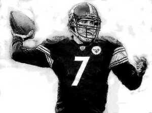 Ben Roethlisberger Portrait Print Steelers 12x18 LE 50