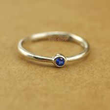 925 Sterling Silver Blue Dot Above Knuckle Midi Thin Band Stackable Ring A3069-B