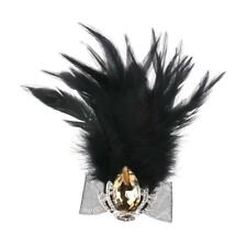 Vintage Black Feather & Crystal Crown Brooch Pin Fancy Party Costume Jewelry