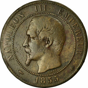 [#458282] Coin, France, Napoleon III, 10 Centimes, 1855, Strasbourg, VF, KM
