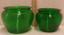 Vintage Lot 2 Green Glass Vases Planters Ribbed Beehive National Potteries Ohio