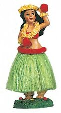 New Hawaii Dashboard Hula Doll Green Skirt Dancer Girl With Flower # 40605