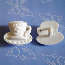 15 Chinese Tea Cup Pot Dish Novelty Sew On Buttons Kid Scrapbooking White K237