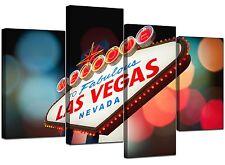 Large Las Vegas Strip Gambling Canvas Wall Art Pictures Prints XL 4126