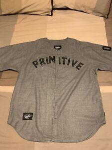NWT Primitive Apparel Wool Melton Grey Baseball Jersey Size XL