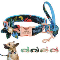 Custom Flower Girl Female Personalized Dog Collar with Leash set Floral Pattern