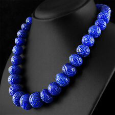 BEAUTIFUL 822.50 CTS EARTH MINED RICH BLUE SAPPHIRE ROUND CARVED BEADS NECKLACE